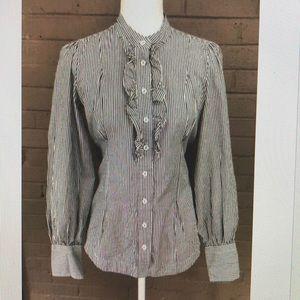 Banana Republic striped ruffle cotton blouse 6
